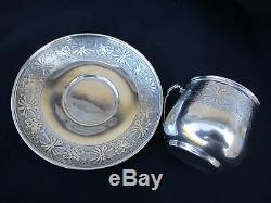 Antique French Sterling Silver Cup And Saucer Empire Style Ernest Combeau 1914