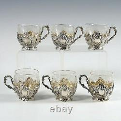 Antique French Sterling Silver Cut Crystal Liquor Service, Cordial Cups, Rococo