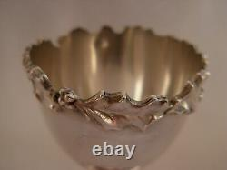 Antique French Sterling Silver Egg Cup, Holly Pattern, Art Nouveau