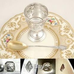Antique French Sterling Silver Egg Cup & Spoon Breakfast Set Art Nouveau Flowers