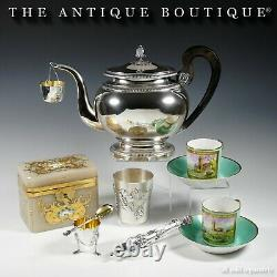 Antique French Sterling Silver Egg Cup & Spoon Breakfast Set Chicken Feet & Head