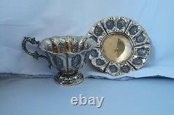 Antique French Sterling Silver Gold Vermeil Cup And Saucer