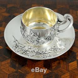 Antique French Sterling Silver Miniature Cup & Saucer, Thistle Pattern