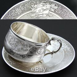 Antique French Sterling Silver Tea Cup & Saucer, Guilloche Decoration, R. Denis