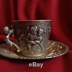 Antique German Augsburg Angel Nude Cherub Sterling Silver Coffee Cup Tray Book