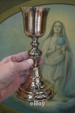 Antique Gold Plated French Baroque Chalice 9 1/4 Cup Sterling Silver (CU589)