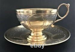 Antique Imperial Russian Niello Sterling Silver Cup and Saucer (P. Abrosimov)