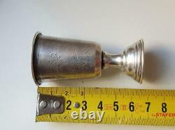 Antique Imperial Russian Sterling Silver 84 Etched Goblet Wine Cup Kiddush 13.5g