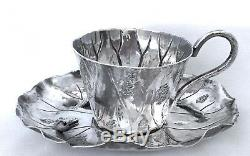 Antique Meiji Japanese Sterling Silver Lily Pad Motif Tea Cup & Saucer