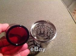 Antique- Rare-tiffany And Co. Sterling Silver/glass Holder Vase Cup