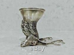 Antique Russian sterling silver deer drinking shot cup with gold gild