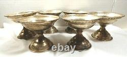 Antique Set of 6 Sterling Silver Footed Sorbet Champagne cup holder