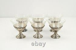 Antique Set of 6 Sterling Silver Sherbet Dessert Cups with Etched Glass, with box