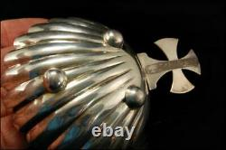 Antique Shell Cross 925 Sterling Cup Small Bowl A806-363