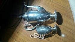 Antique Sterling Silver Coffee pot And Creamer Cup