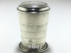 Antique Sterling Silver Collapsable Travel Cup With Rare Sterling Lid/gold Wash