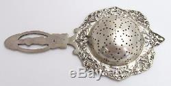 Antique Sterling Silver Repousse Over Cup Tea Strainer