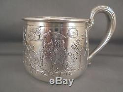Antique Sterling Silver Wm Kerr & Co Childs Mug Cup Circus Animals
