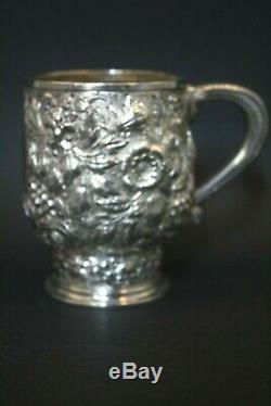 Antique Stunning 19thc Sterling Silver Tiffany & Co Embossed Handle Mug Cup
