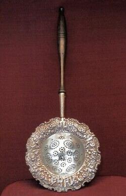 Antique Tiffany Floral and Fern Over the Cup Sterling Silver Tea Strainer