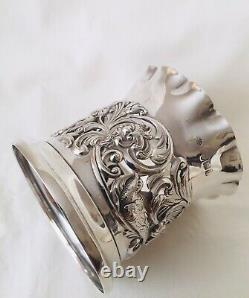 Antique Victorian Sterling Silver Repousse Cup Holder Container, London 1896