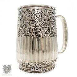 Antique Victorian sterling silver christening cup mug Sheffield 1888 tankard