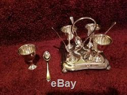 Antique silver plate MH&CO 4 egg cups with spoon set and stand with handle