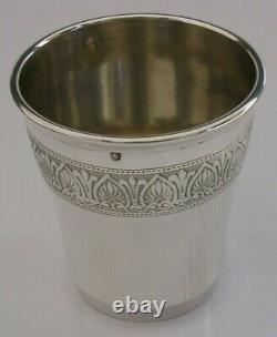 BEAUTIFUL FRENCH SOLID SILVER BEAKER CUP c1920s ANTIQUE 66g ART DECO