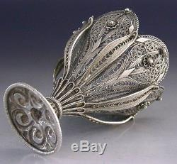 BEAUTIFUL QUALITY STERLING SILVER ZARF CUP c1900 TURKISH EASTERN ANTIQUE