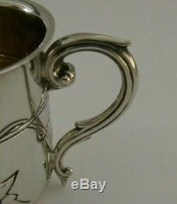 BEAUTIFUL STERLING SILVER ART NOUVEAU CHRISTENING MUG or CUP 1910 ANTIQUE