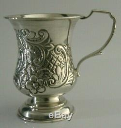 BEAUTIFUL VICTORIAN STERLING SILVER CHRISTENING CUP or MUG 1900 ANTIQUE