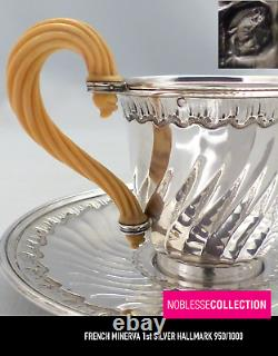 BOINTABURET RARE ANTIQUE 1890s FRENCH STERLING SILVER COFFEE CUP & SAUCER 222g