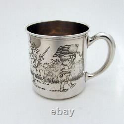 Baby Cup Children Parade Etched Design Sterling Silver 1930s