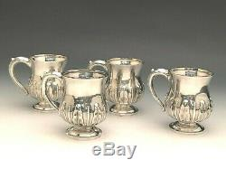 Beautiful set of 4 Sterling Silver Mugs, Hand Wrought, marked G. F. Ltd. Sterling