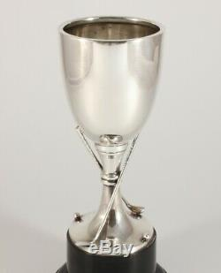 Blank Silver Golfing Trophy. Antique Cup Golf Clubs & Ball. Golfer Gift 1937