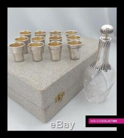 COMPLETE ANTIQUE 1900s FRENCH STERLING SILVER CUPS & DECANTER LIQUOR SET 13pc
