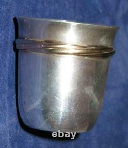 Cartier Sterling Silver. 925 3 Color Shot Glass Goblet Baby Cup Cordial Aperitif