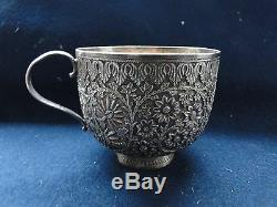 Chinese Tea Cup, Sterling Silver, Chased And Engraved, Unmarked Sweet Item 1880