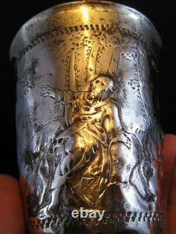 Early 1700's RUSSIAN SOLID SILVER CUP Arnholt Lange Danzig ANGELS-MEN-DOVES