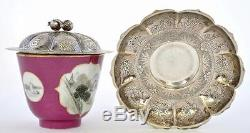 Early 20C Chinese Sterling Silver Famille Rose Porcelain Tea Cup & Saucer Mk