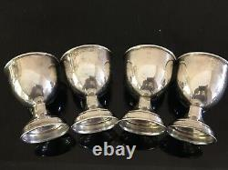 Early 20th Century Set of 4 English Sterling Silver Set Egg Cups