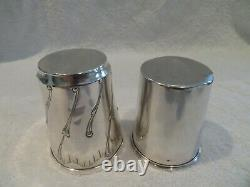 Early 20th c french sterling silver 950 minerve 2 beakers rococo st 142gr 5,0oz