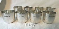 Eight English Sterling Silver Walter H. Wilson LTD Cocktail Drinking Cups