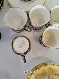 English Demitasse Cup and Saucers Sterling Holder Lot