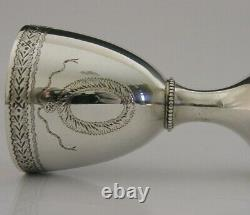 English Solid Sterling Silver Chalice Goblet Cup 1974 Georgian Replica