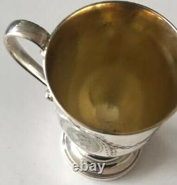 English Sterling Silver Guilt Hallmarked Silver Cup Engraved Lady Head 110 gr