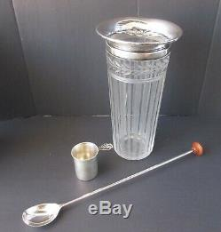 FABULOUS ART DECO STERLING SILVER Etched COCKTAIL SHAKER With SPOON & SHOT CUP