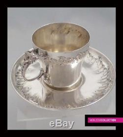FINE ANTIQUE 1880s FRENCH STERLING SILVER EMBOSSED COFFEE CUP & SAUCER Rococo st