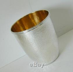 Fine 925 Sterling Silver & Gilded Italian Handmade Modern Hammered Round Cup