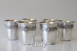 Fine Sterling Silver Flower Chased Set of Six Liquor Cups and Tray DWC&DWT